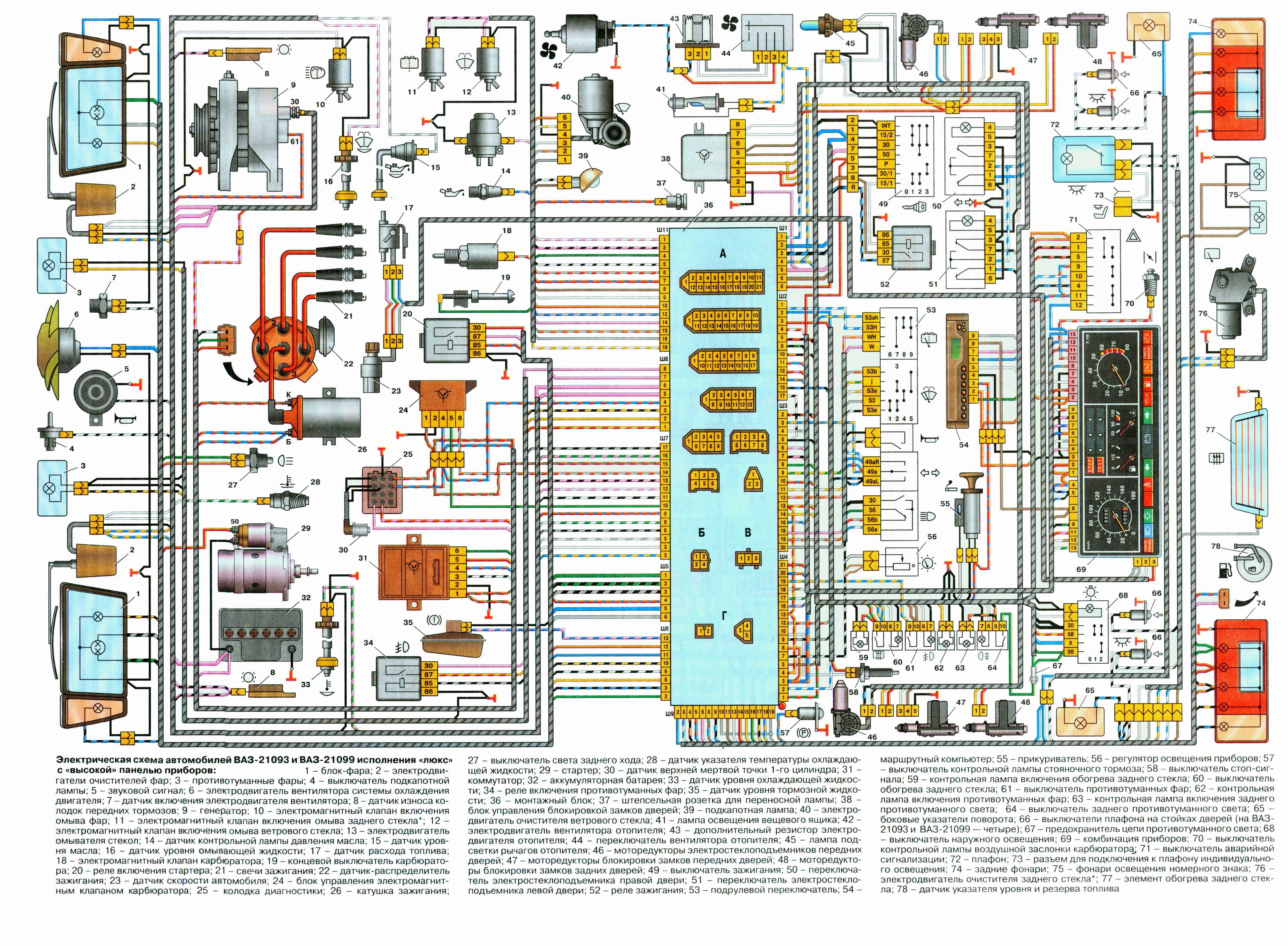 схема машини на ваз 2108