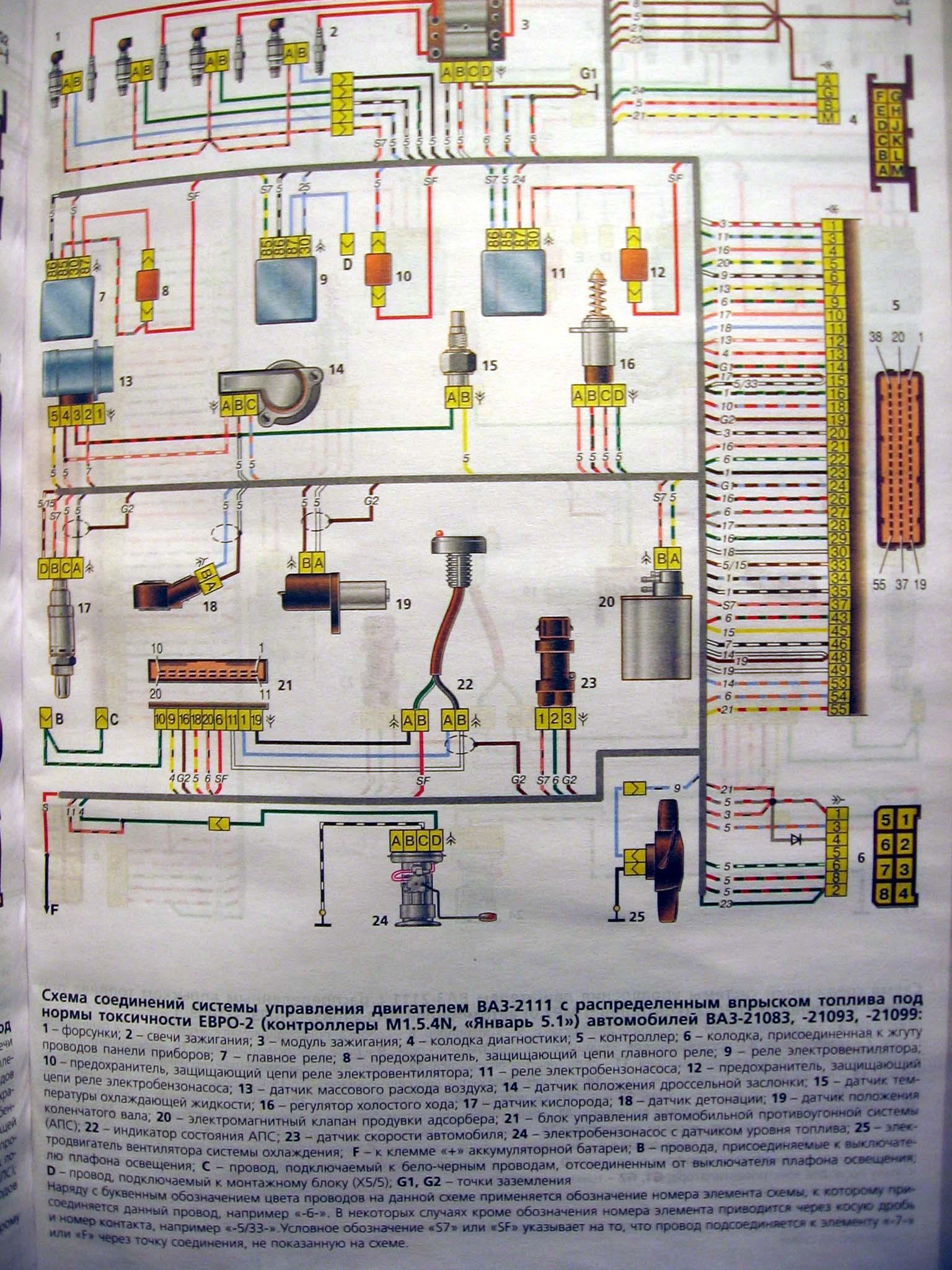 Инжекторная 2109 схема