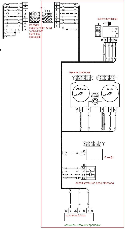 Схема электропроводки автомобиля ВАЗ-21093, ВАЗ-21099