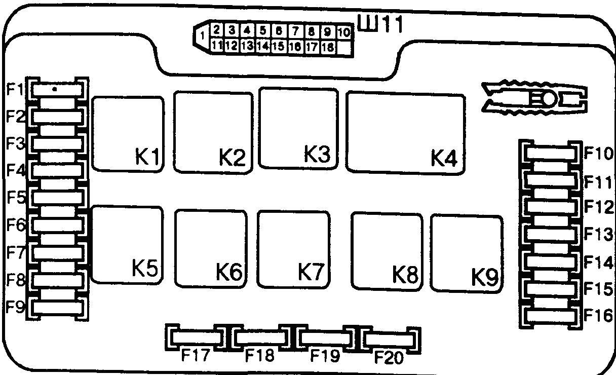 схема монтажного блока 21099 низкая панель
